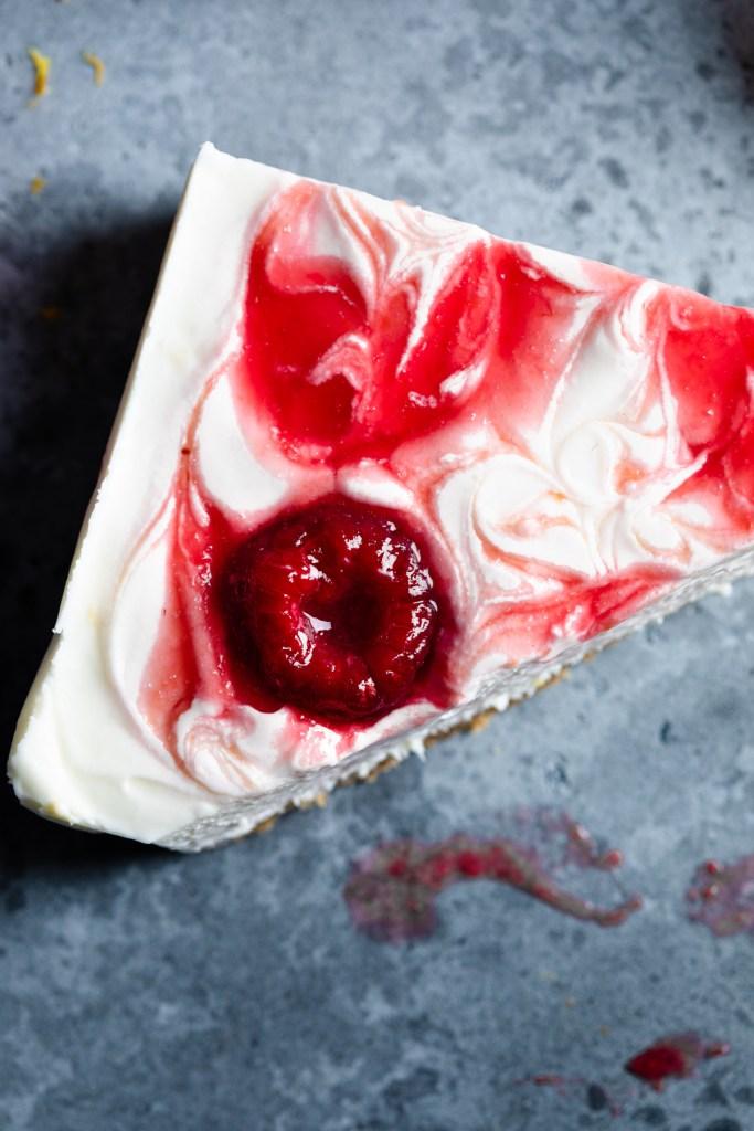no bake raspberry cheesecake bars with lemon