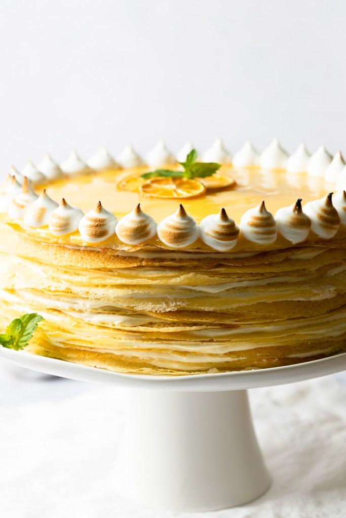 closeup of crepe cake layers