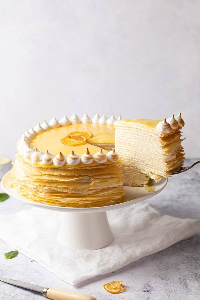 lemon crepe cake being serves