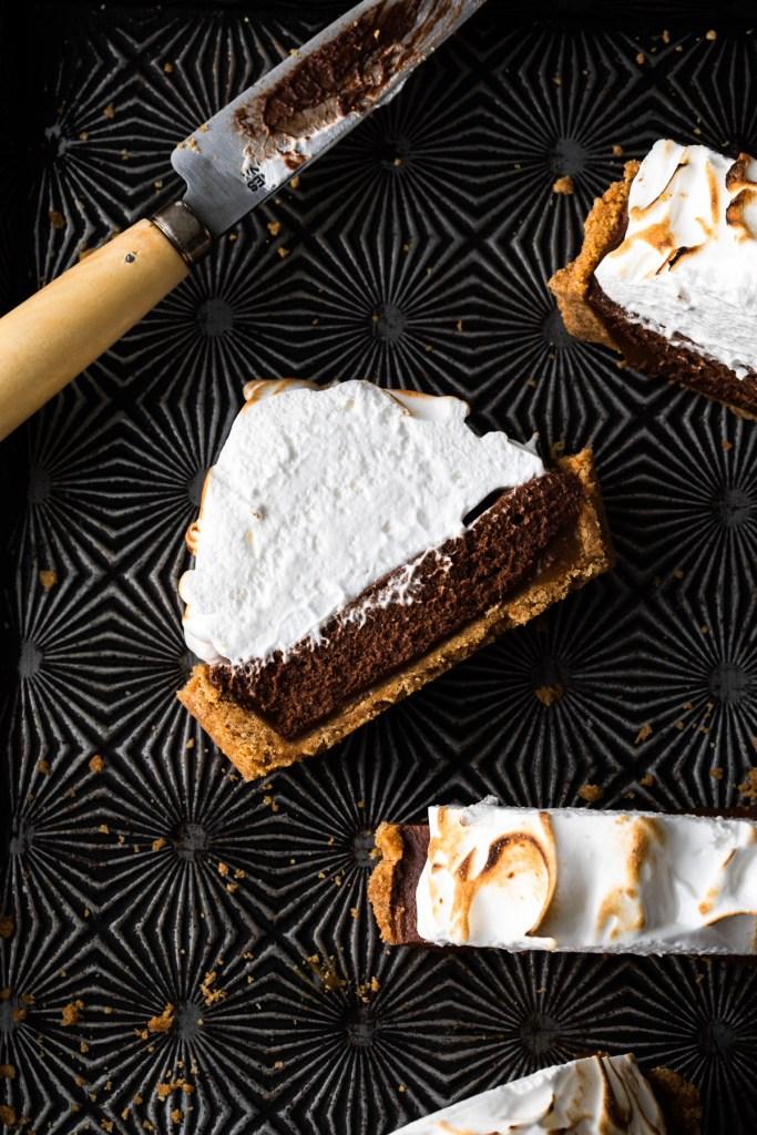 close up of cut tart pies