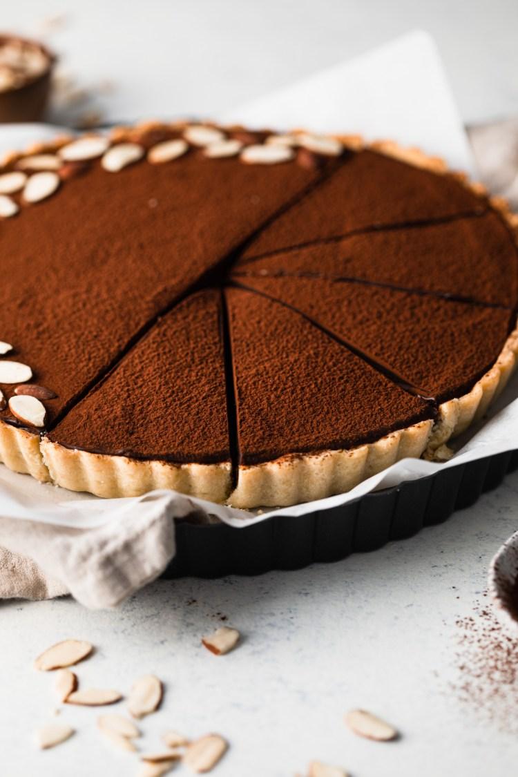 chocolate tart with caramel and cinnamon