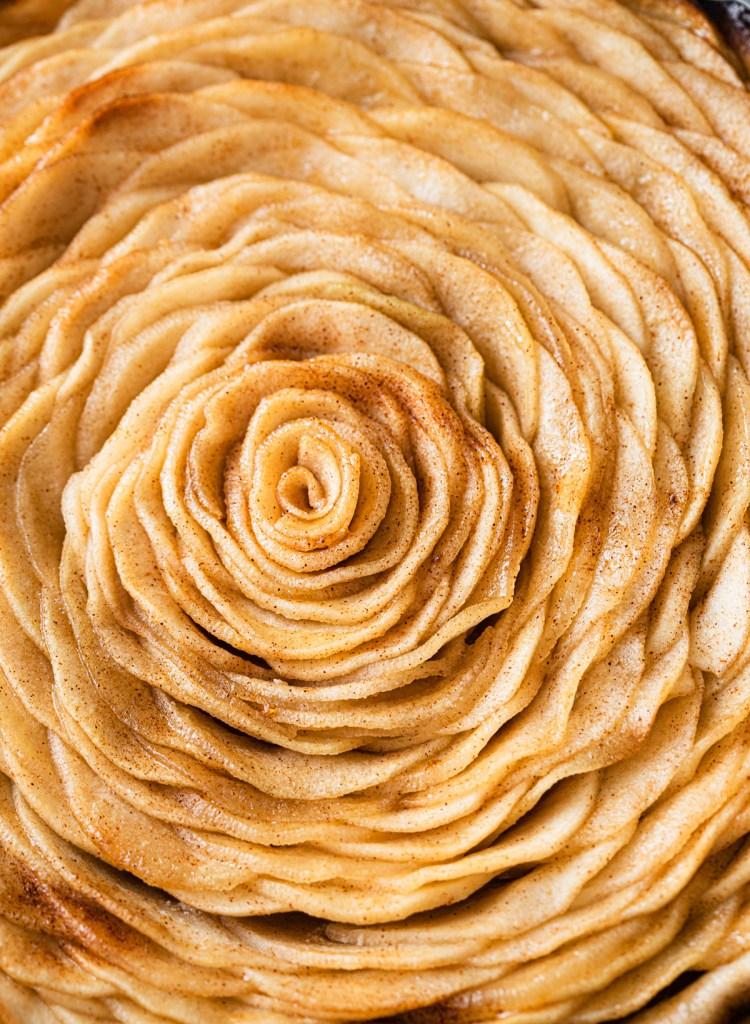 close up of apple rose in apple tart