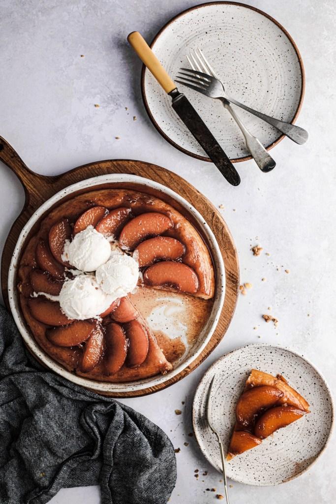 Peach tarte tatin with vanilla ice cream