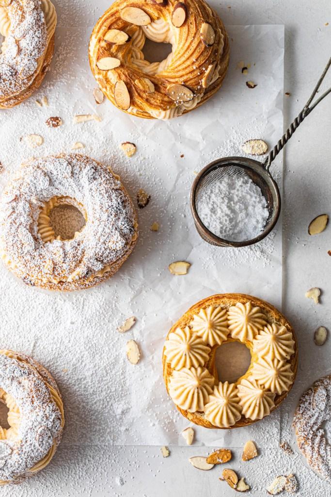 paris brest open showing the pastry cream
