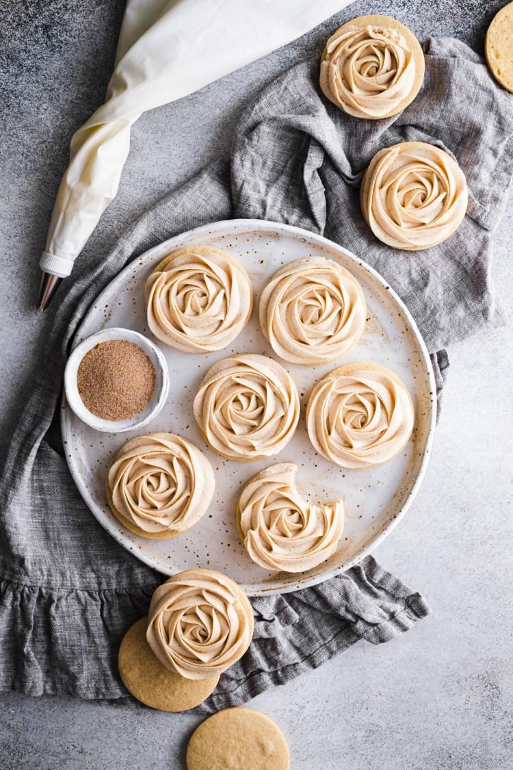 cinnamon sugar cookies with cinnamon buttercream frosting