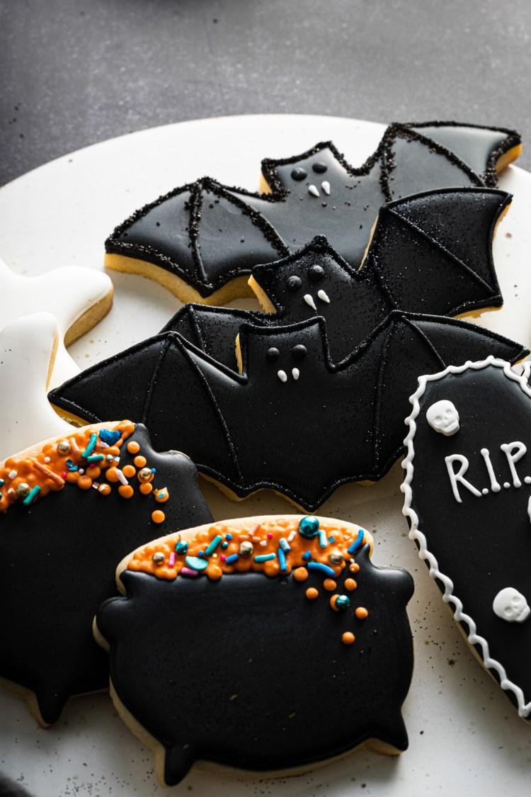 bat, cauldron, and coffin cookies