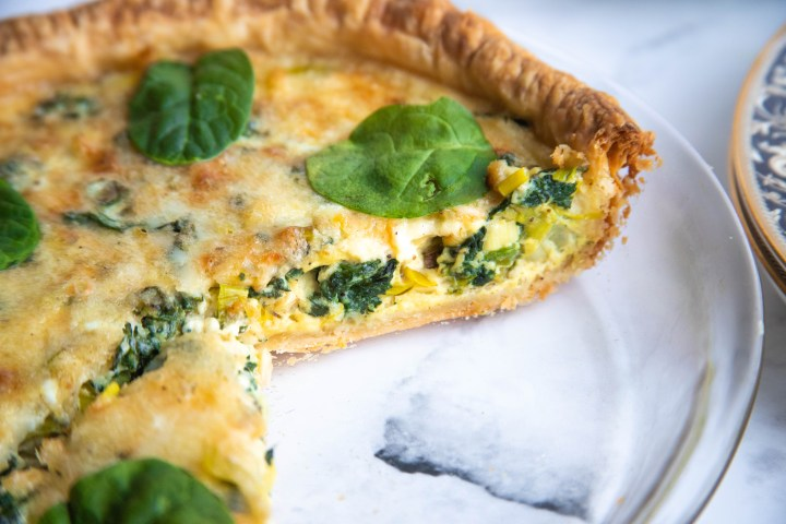 Sliced Spinach and Leek Quiche