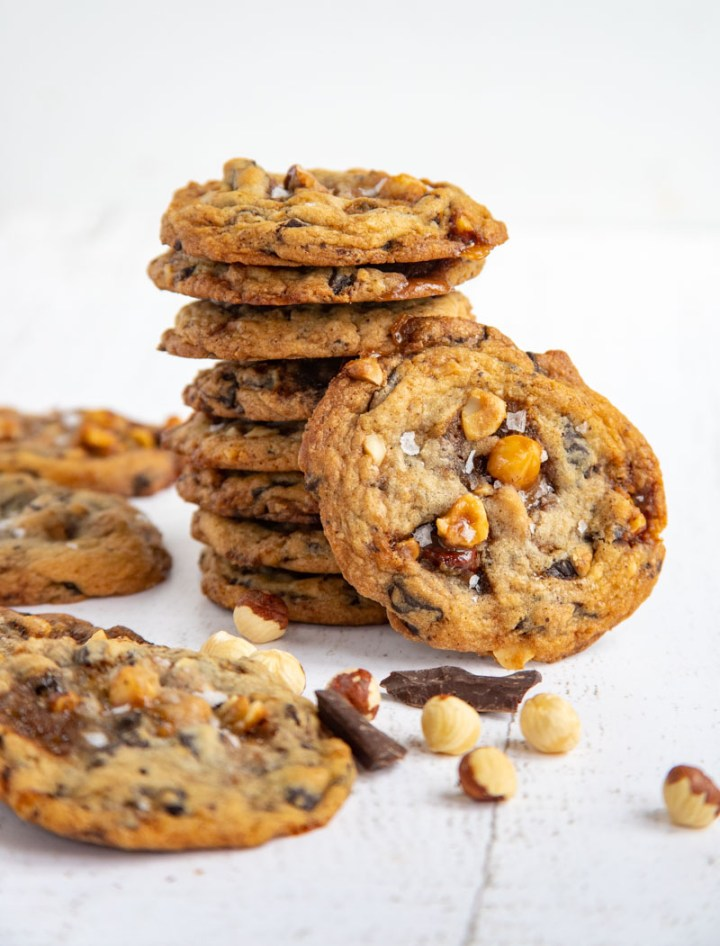 Hazelnut Toffee Chocolate Chip Cookies Stacked