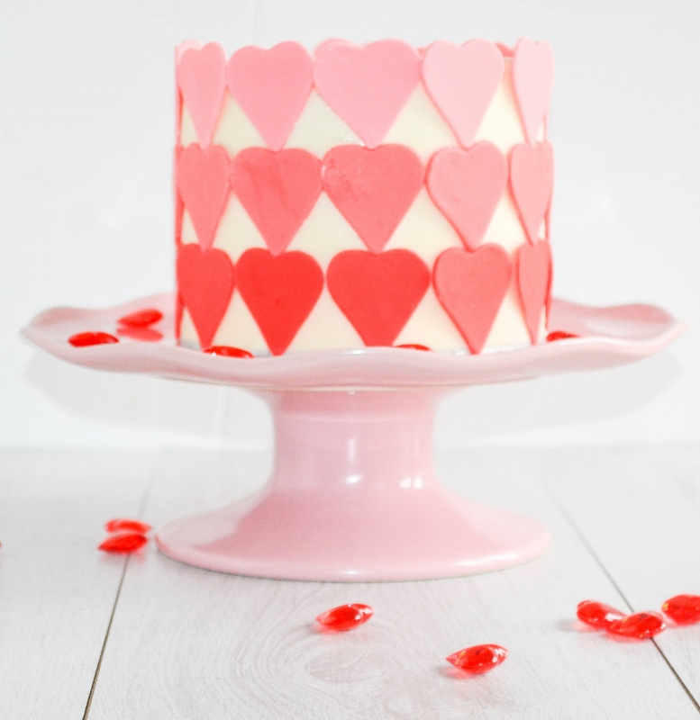 Ombre Layered Cake decorated with sugarpaste hearts for Valentine's Day