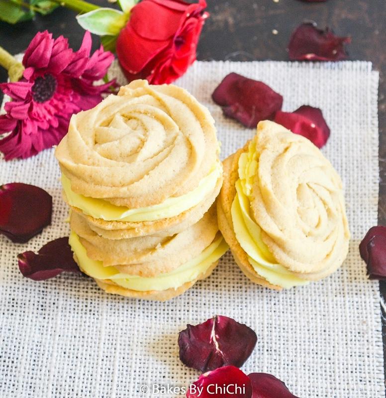Vanilla and Lemon Spritz Sandwich Cookies