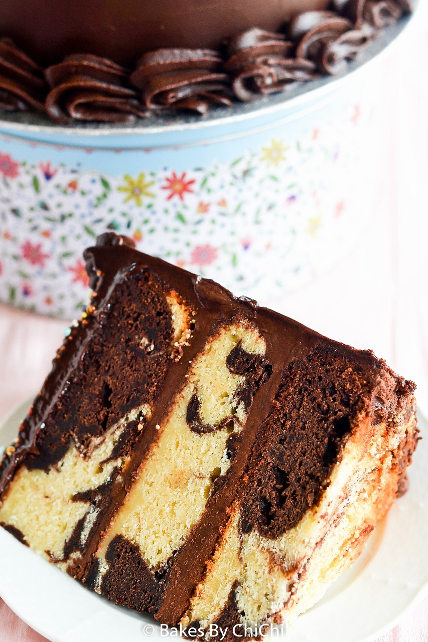 Chocolate Fudge Frosted Marble Cake