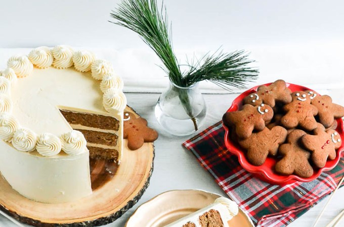 Gingerbread Cake with Caramel Swiss Meringue