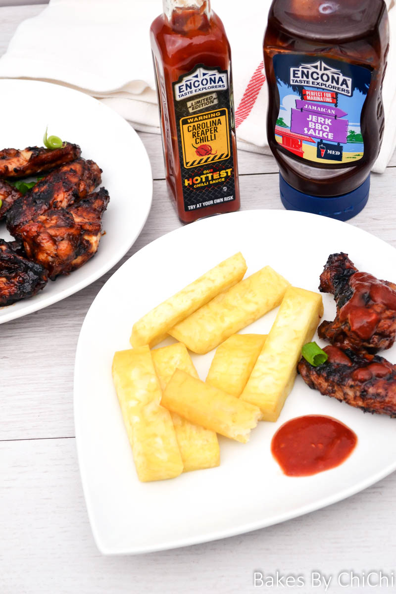 Fried Yam with Sweet and Spicy Barbecue Chicken