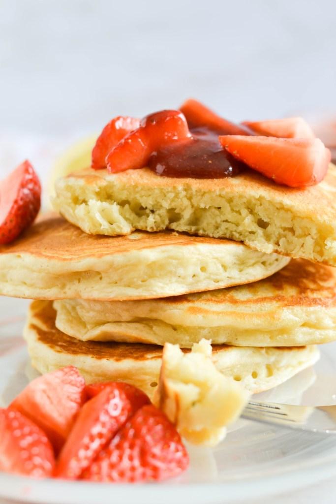 Fluffy Lemon Pancakes with Strawberry Sauce
