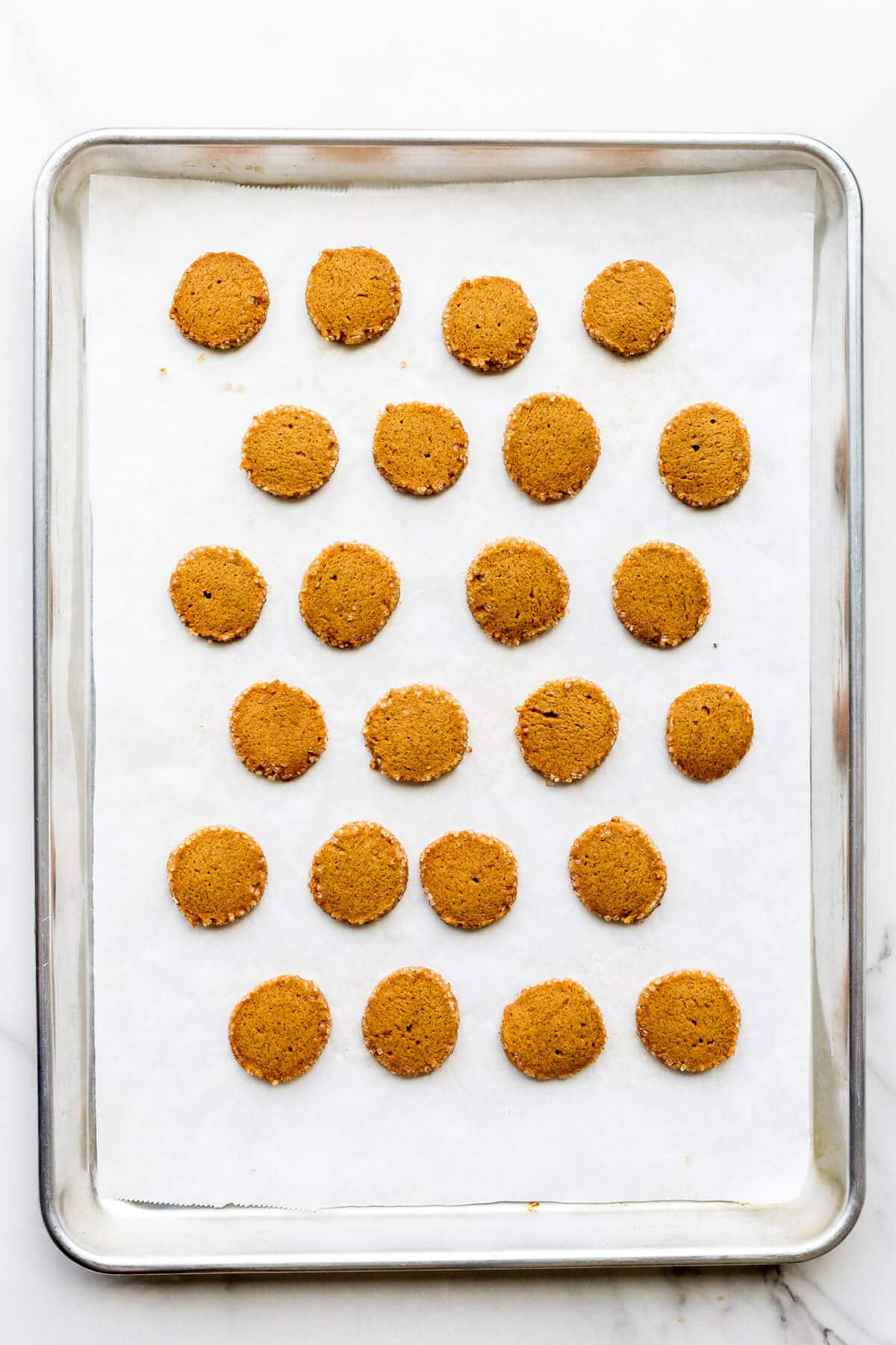 A sheet pan of freshly baked ginger coin cookies.