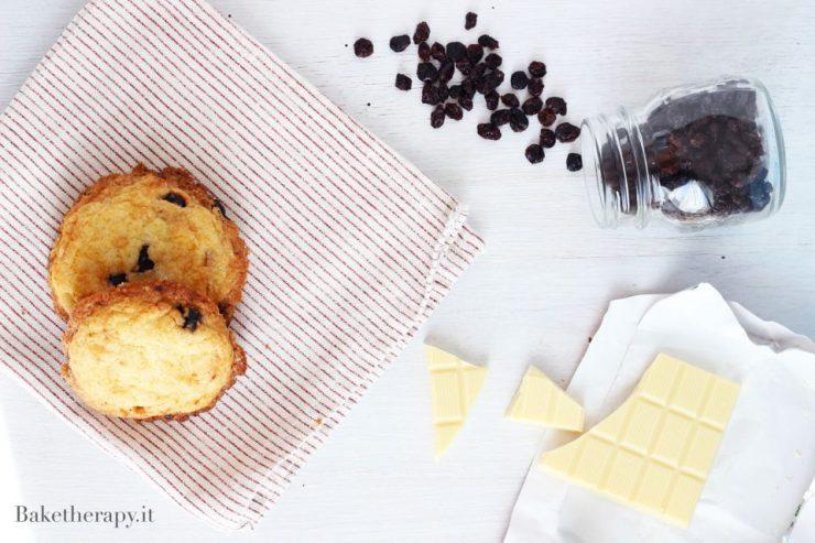Cookies senza burro con mirtilli e cioccolato bianco