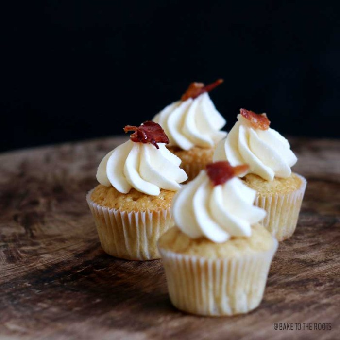 Maple Bourbon Cupcakes with Maple Buttercream and Maple Glazed Bacon | Bake to the roots