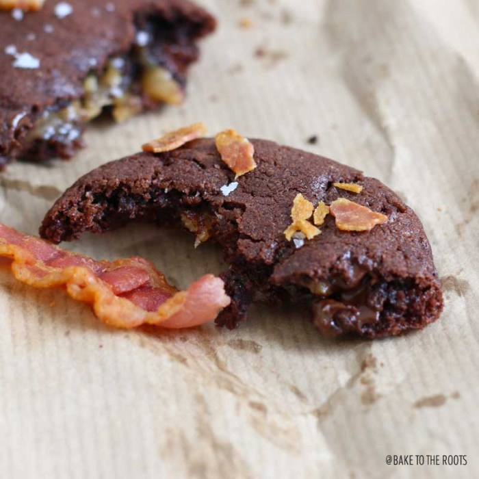 Chocolate Salted Caramel Bacon Cookies | Bake to the roots