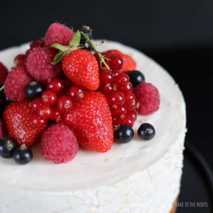 Orange Blossom Rice Pudding Cake with Fresh Berries | Bake to the roots