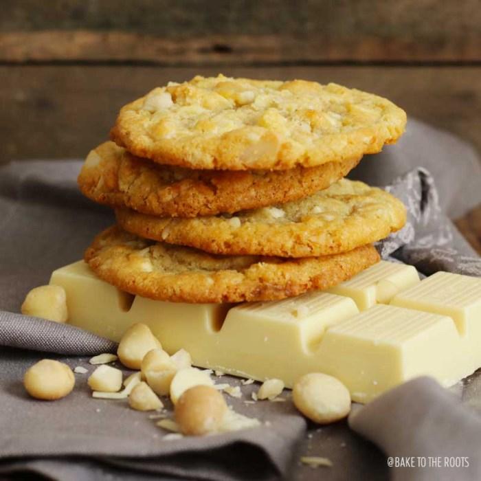 White Chocolate Macadamia Nut Cookies | Bake to the roots