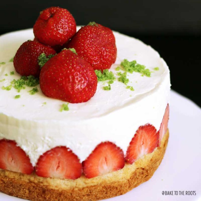 (Almost) No-Bake Strawberry Shortcake Cheesecake   Bake to the roots
