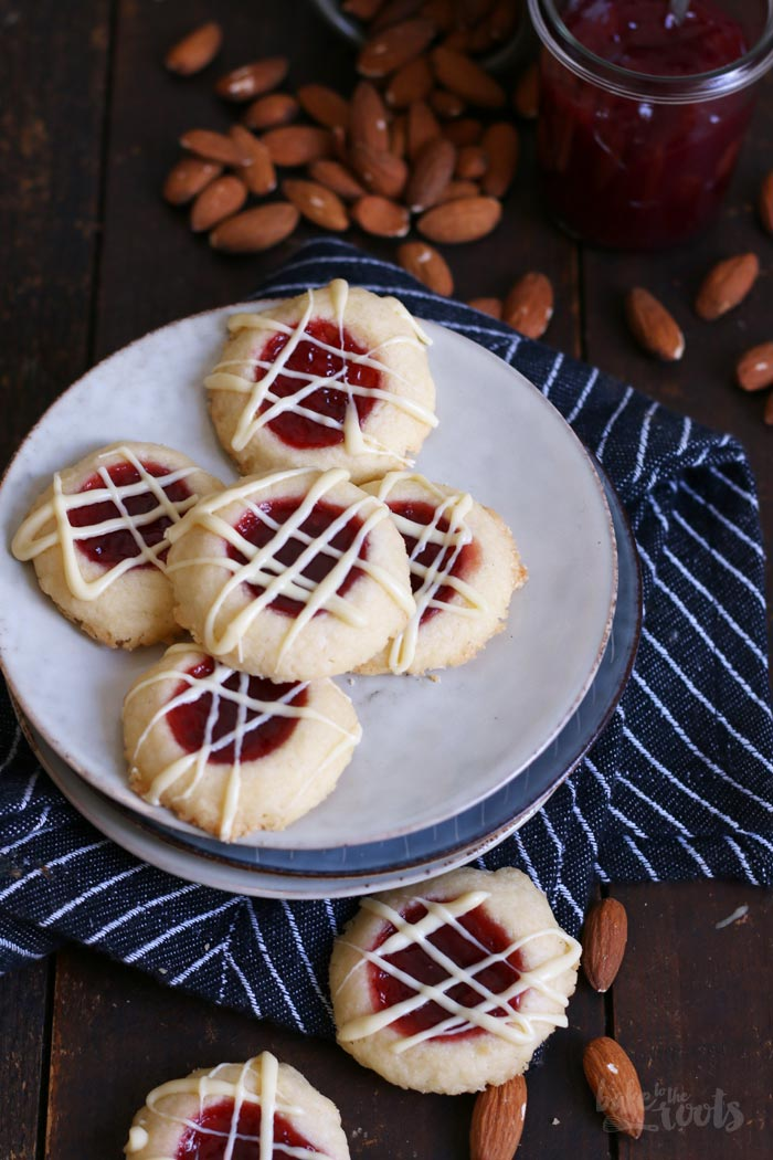 Raspberry Almond Thumbprint Cookies | Bake to the roots