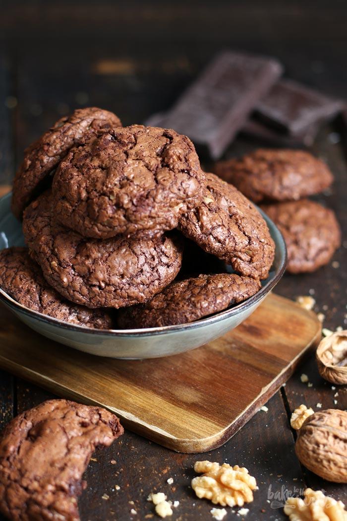 Dark Chocolate Walnut Brownie Cookies | Bake to the roots