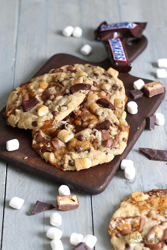 Caramel Stuffed Monster Size Cookies | Bake to the roots