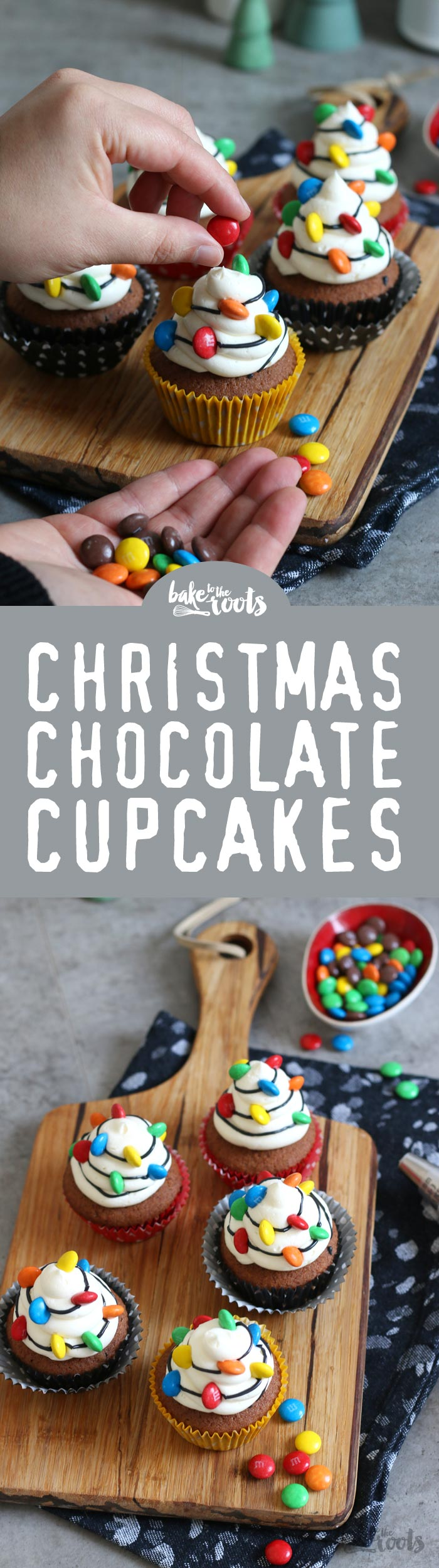Christmas Chocolate Cupcakes with Lights | Bake to the roots