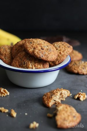 Banane Walnuss Schoko Cookies