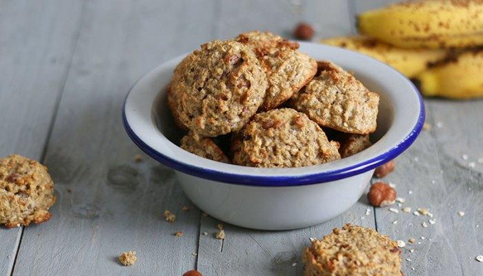 Sugar-Free Banana Hazelnut Oats Cookies   Bake to the roots