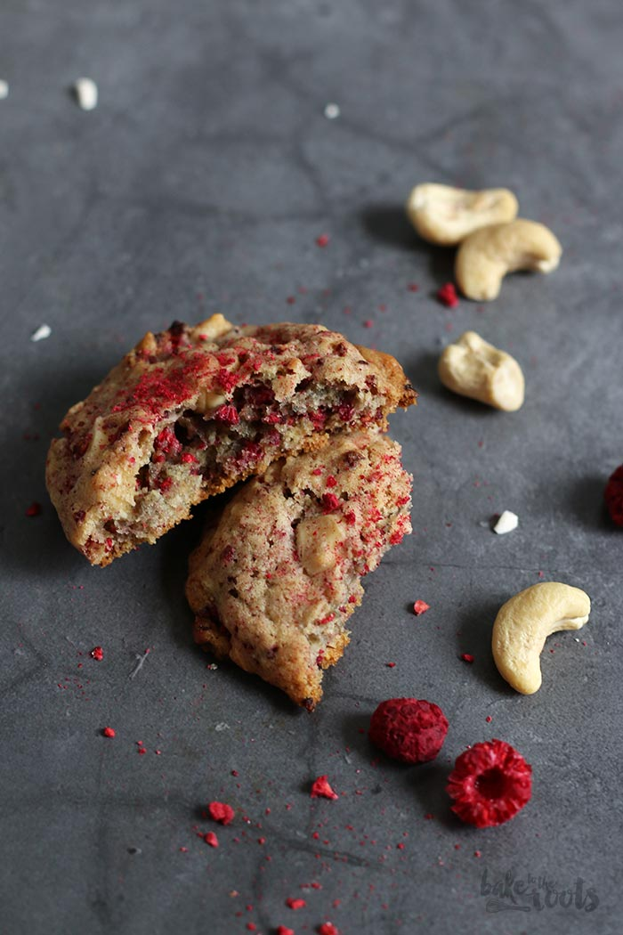 Raspberry Cashew White Chocolate Cookies | Bake to the roots