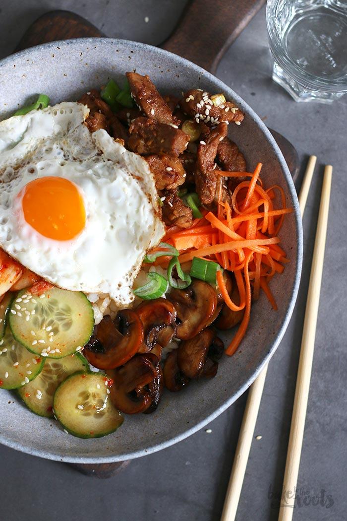 Korean Bibimbap with Pork   Bake to the roots