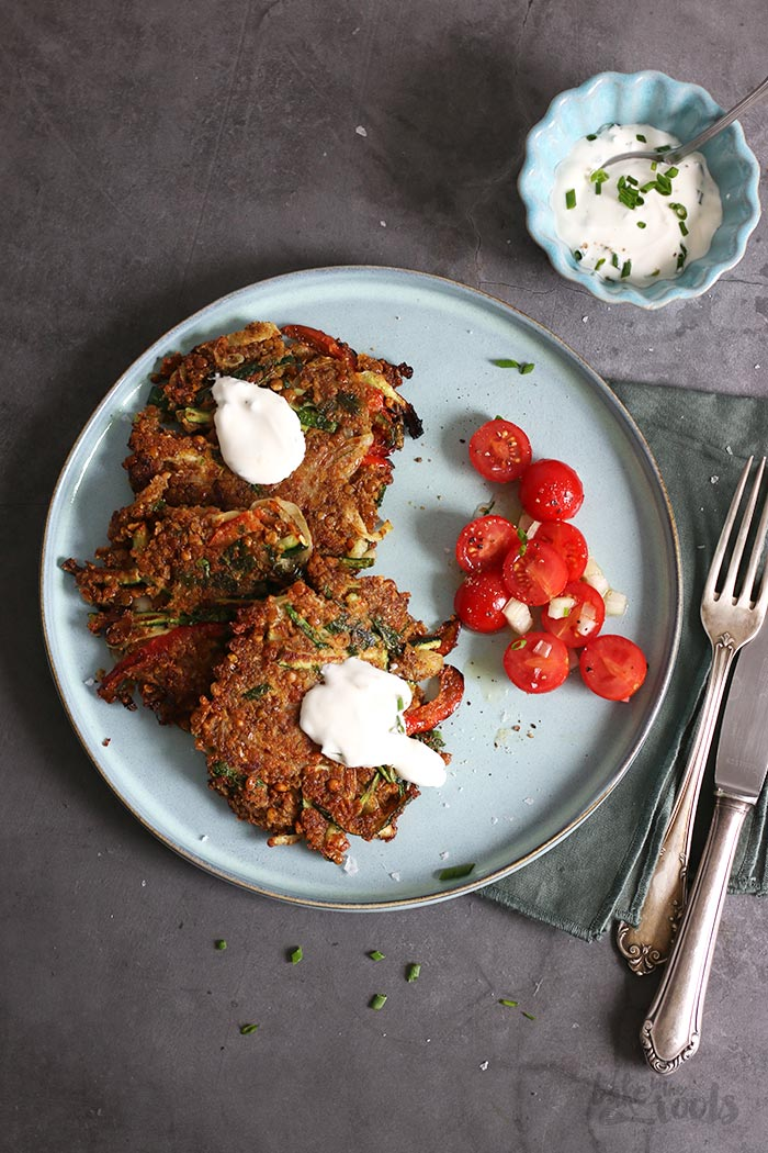 Lentil Zucchini Peppers Fritters | Bake to the roots