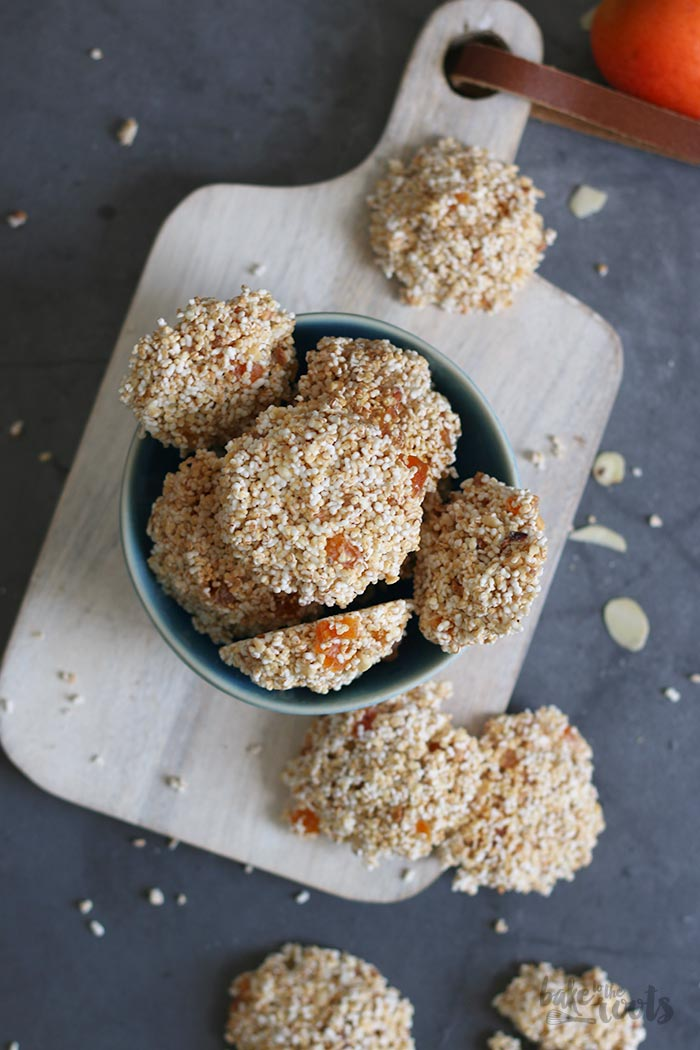 No-Bake Amaranth Apricot Almond White Chocolate Cookies | Bake to the roots