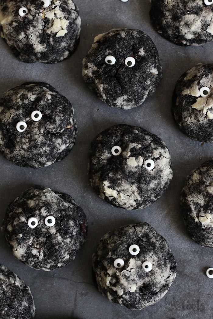 Halloween Double Chocolate Peanut Butter Monster Cookies | Bake to the roots