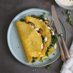 Vegan Chickpea Turmeric Crêpes with Spinach and Mushrooms | Bake to the roots