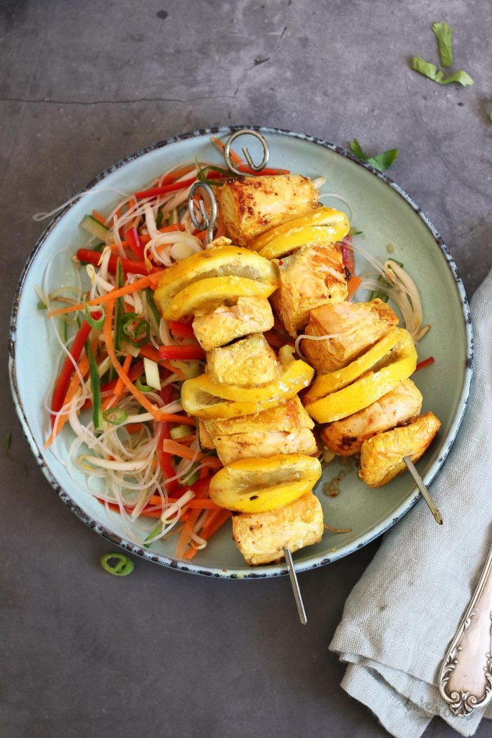 Salmon Skewers with Peanut Sauce and Vietnamese Noodle Salad | Bake to the roots