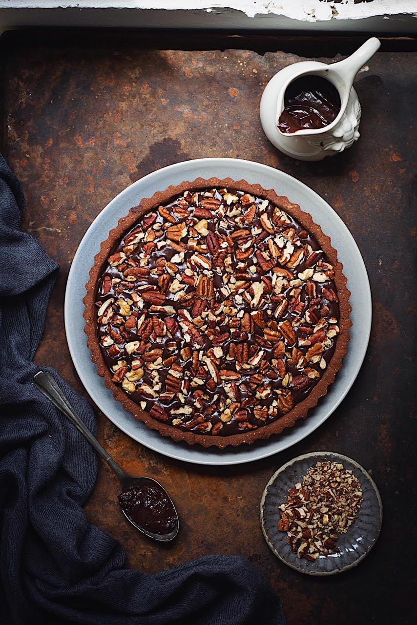 gluten free chocolate pecan tart