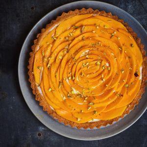 eggless mango cream-cheese tart
