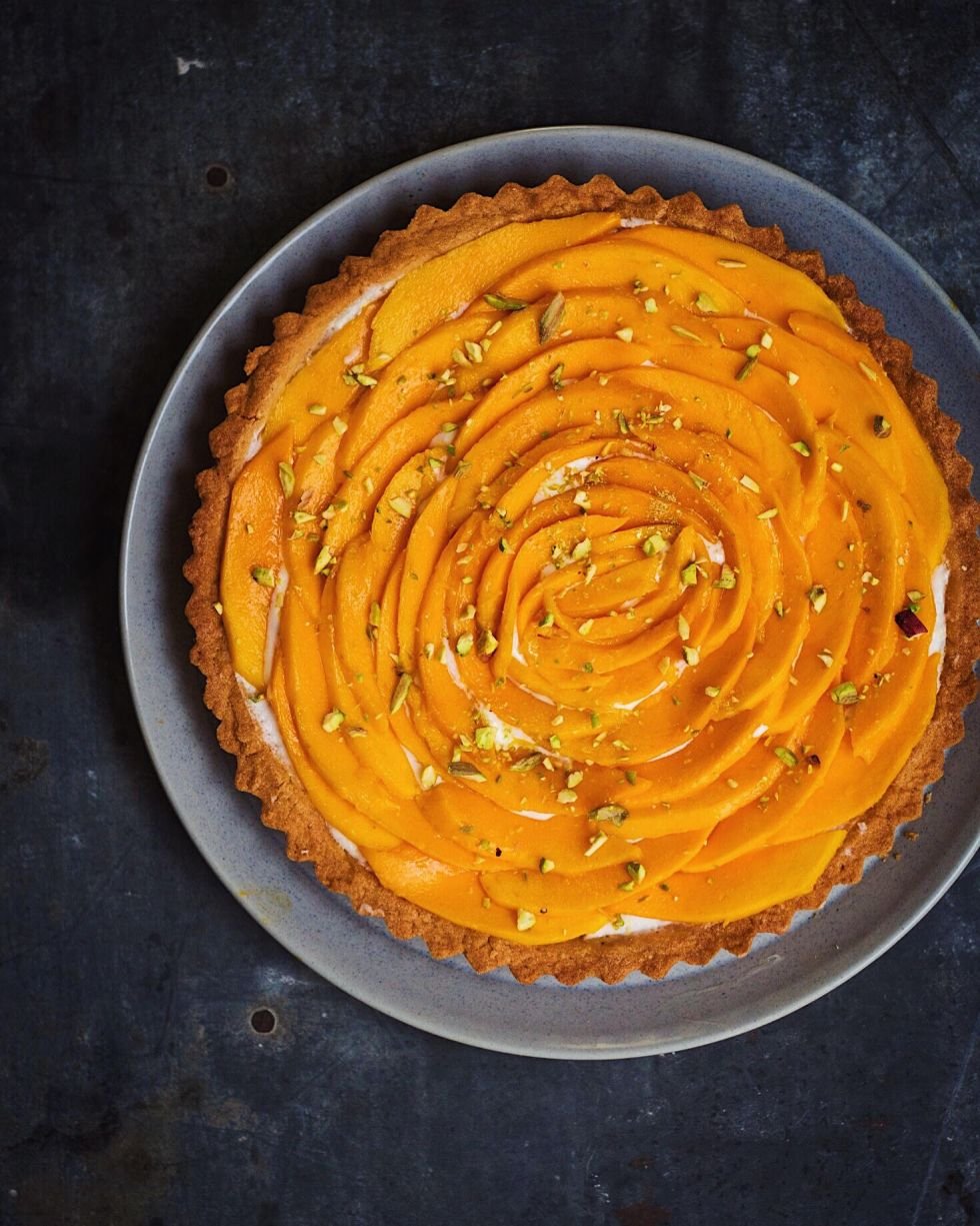 eggless mango cream-cheese tart