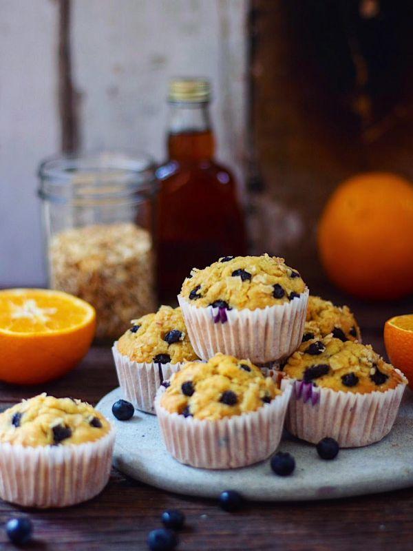 whole wheat orange blueberry muffins