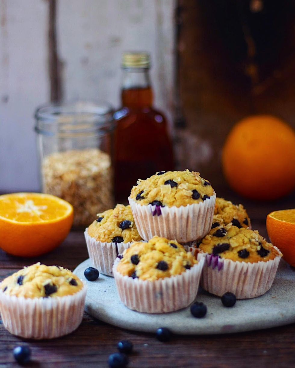 whole wheat orange blueberry muffins