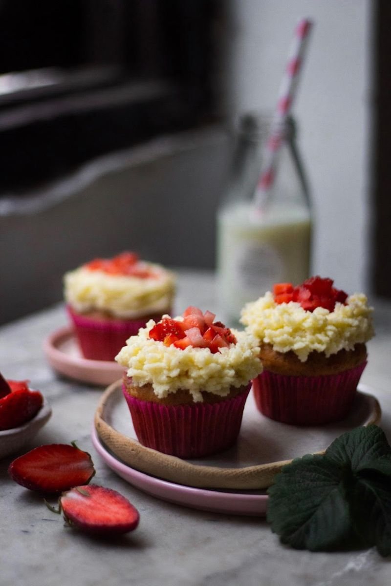 Eggless Strawberry Cupcakes Recipe