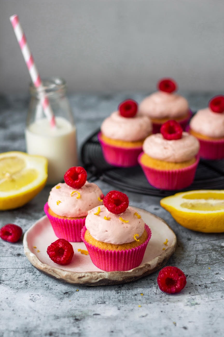 eggless raspberry lemon cupcakes