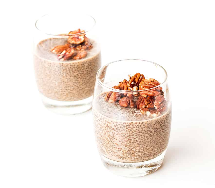 This vegan, refined sugar free Salted Caramel & Pecan Chia Pudding recipe is the perfect easy and healthy breakfast. Packed with protein.