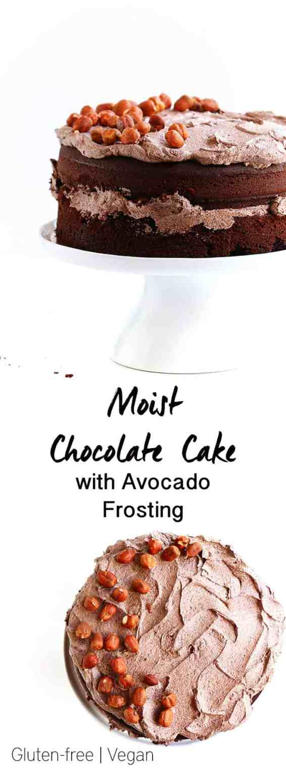 Moist Gluten Free Chocolate Cake with Avocado Frosting - A decadent gluten free, vegan and refined sugar free chocolate cake with creamy avocado frosting.