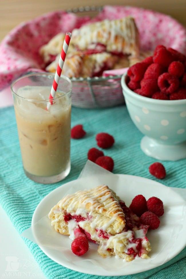 Raspberry Cream Scones with Rosewater Glaze by BakingAMoment.com