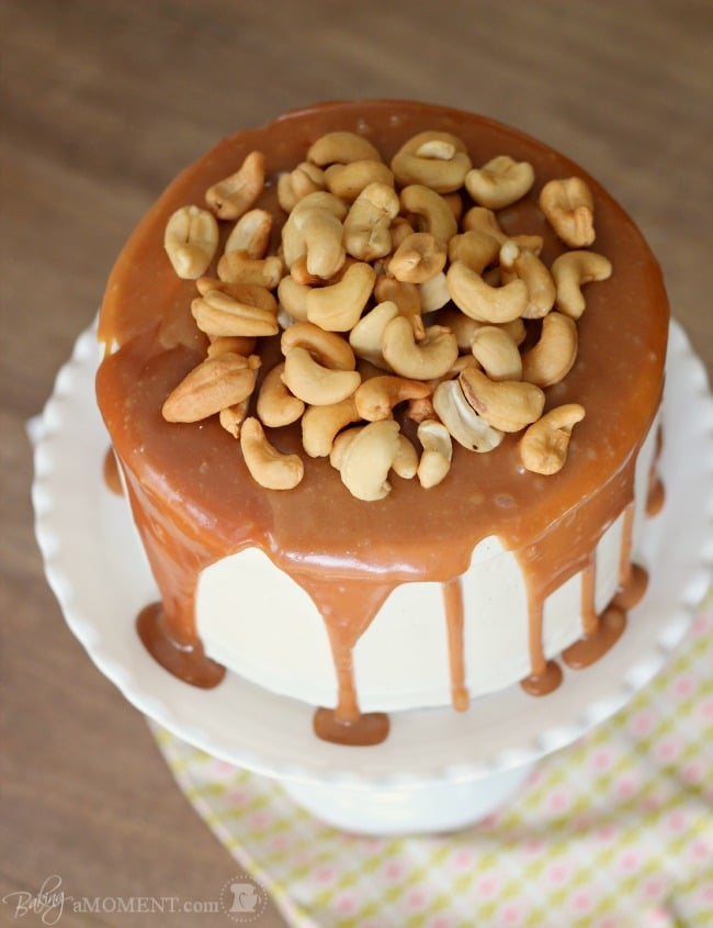 Vanilla Malt Cake with Cashews and Salted Caramel | Baking a Moment