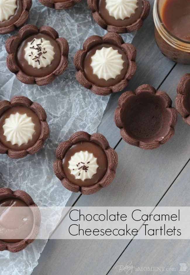 Chocolate Caramel Cheesecake Tartlets - Chocolate Shortbread Mini Tartlets filled with Buttery Salted Caramel and topped with a Fluffy No Bake Cheesecake. food dessert tart